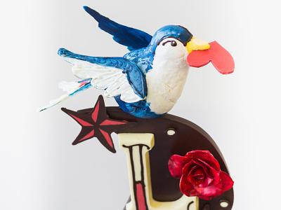 Sailor Jerry Chocolate Sculpture bird valentinesday sculpture chocolate 3d illustration