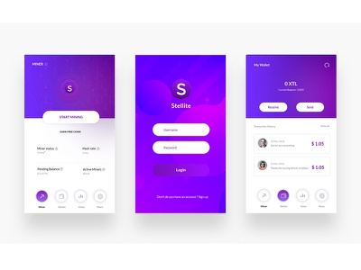 Stellite Cryptocurrency Wallet wallet ux ui simple mobile minimal ios design clean bitcoin app android