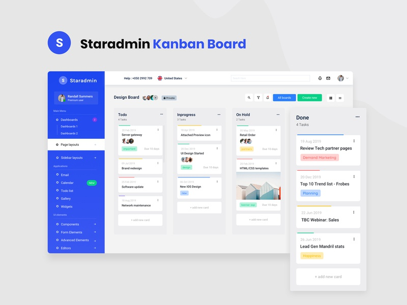 Staradmin Kanban board clean profile bootstrap 4 admin panel project interaction workflow todolist chart admin dashboard ui ux graph typography drag n drop team boards kanban cards webapp
