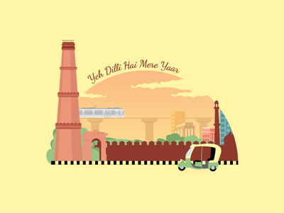 Delhi City metro vector illustration delhi