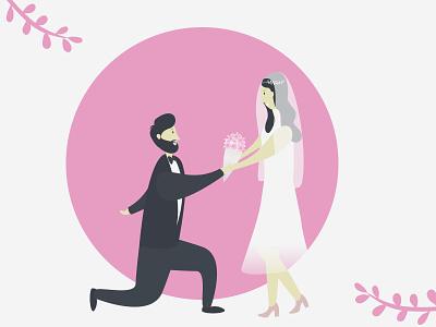 Happy Married Couple ❤️ wedding romance bride  groom bride marry married pink minimal clean vectorart flat humans sketch drawing vector illustration