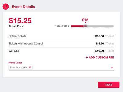 Ticket Pricing promo code slider ticket price pricing interface design