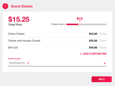Ticket Pricing promo code slider ticket price pricing interface design