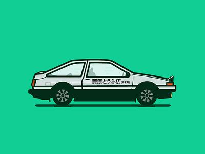 AE86 Panda Trueno fun at work initial d rapidgems fr ae86 trueno corolla drifting illustration anime car