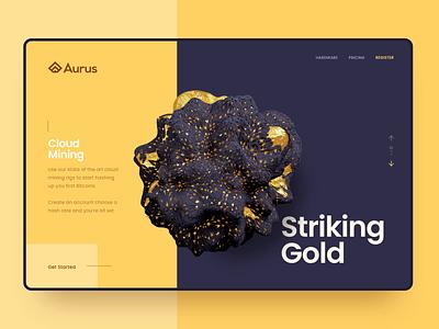 Striking Gold blender cloud mining bitcoin mining 3d 3d animation website ui interaction design design animation aftereffects rapidgemsstudio adobexd rapidgems