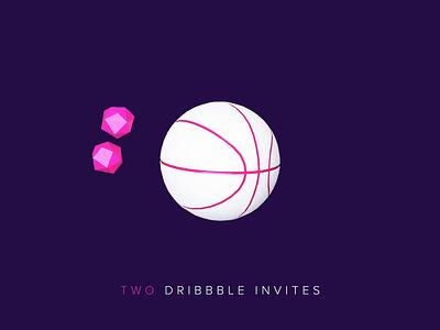 Two Invites basketball blender 3d 3d animation motion design invites dribbble invite