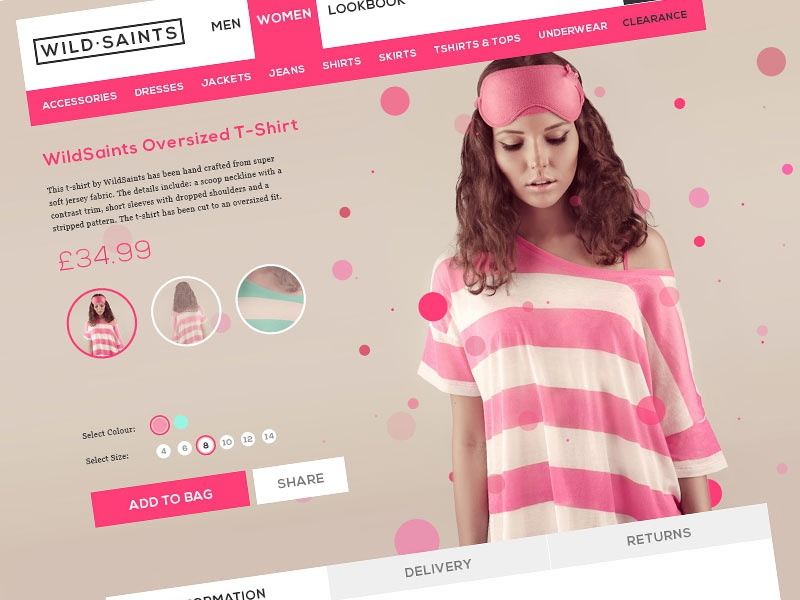 WildSaints ecommerce website web design pink clothing fashion shop