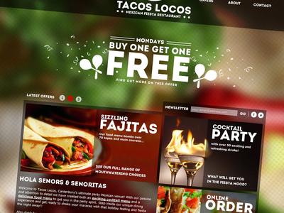 TacosLocos food restaurant website web design green red white mexican fiesta