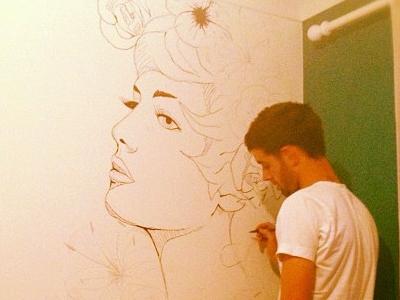 Wall Mural wall mural draw art woman girl flowers sketch