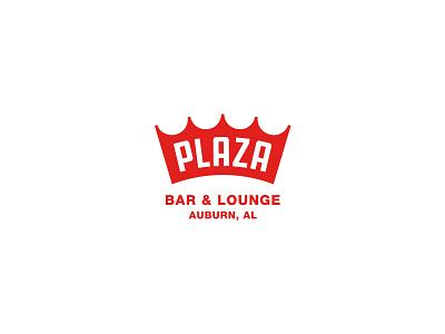 Plaza Bar & Lounge crown badge typography alabama branding logo