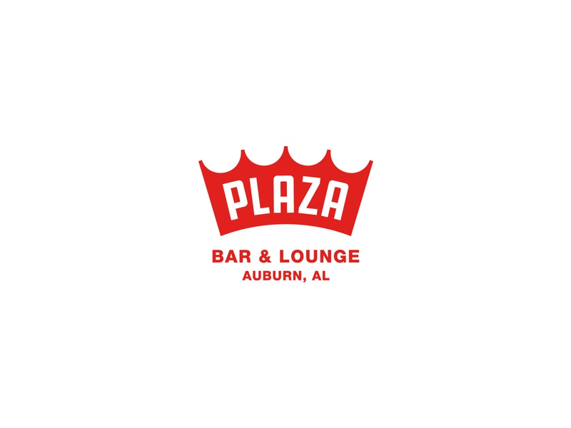 Plaza Bar & Lounge crown badge typography alabama branding logo