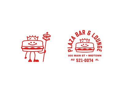 Plaza Bar & Lounge alabama vintage illustration character badge cheeseburger burger