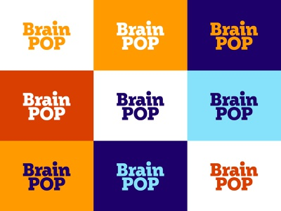 BrainPOP Color System blue purple orange typography design type lettering branding logo