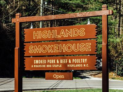 Highlands Smokehouse - Signage alabama typography branding logo