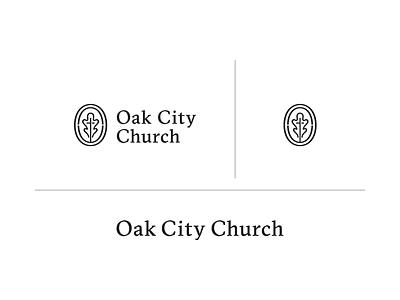 Oak City Church c2 badge cross alabama identity leaf oak icon serif branding logo church