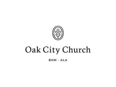 Oak City Church c2 badge cross alabama identity leaf oak icon serif branding logo church