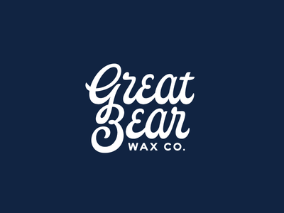 Great Bear Wax Co. type typography lettering white blue alabama script logo