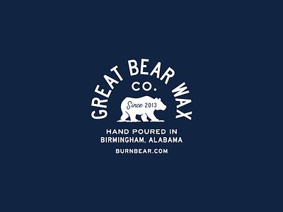 Great Bear Wax Co. candle alabama blue bear typography type logo badge