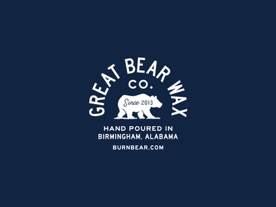 Great Bear Wax Co. candle alabama blue bear typography type logo badge
