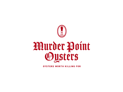 Murder Point Oysters knife red gothic oyster seafood icon blackletter logo