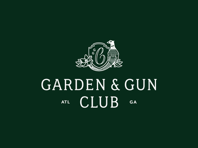 Garden & Gun Club green atlanta garden  gun magnolia pheasant badge crest identity logo club