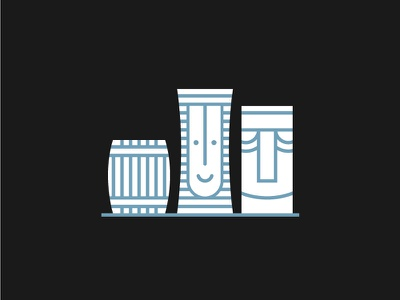 Tiki Mugs rum white blue simple icon illustration tropical tiki tiki mug