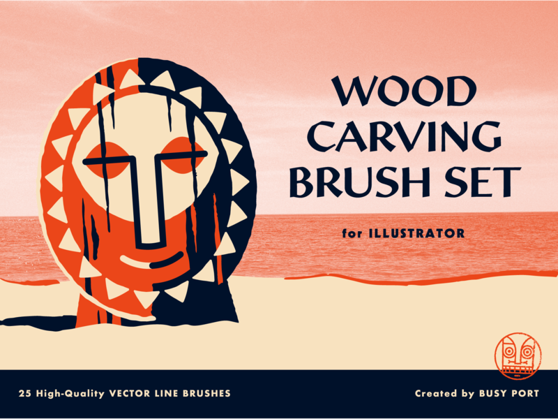 Wood Carving Brush Set texture lettering logo illustration vector woodgrain wood tropical tiki outdoors illustrator brushes