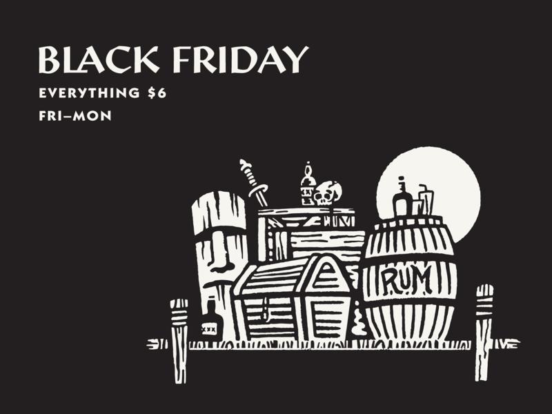 Black Friday tiki rum tropical brushes brush texture branding illustration