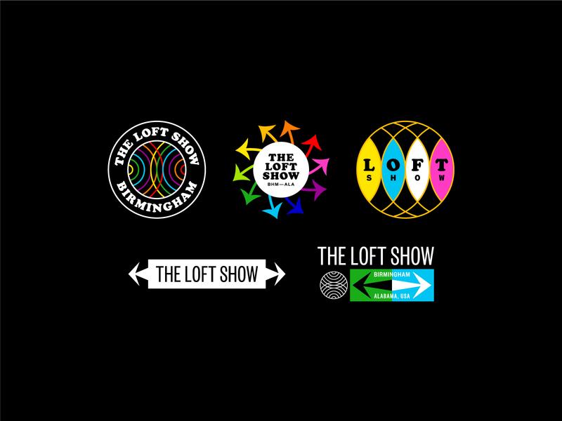The Loft Show rainbow circle badge jazz arrow typography branding logo illustration