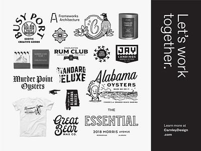 Let's work together type typography branding illustration logo