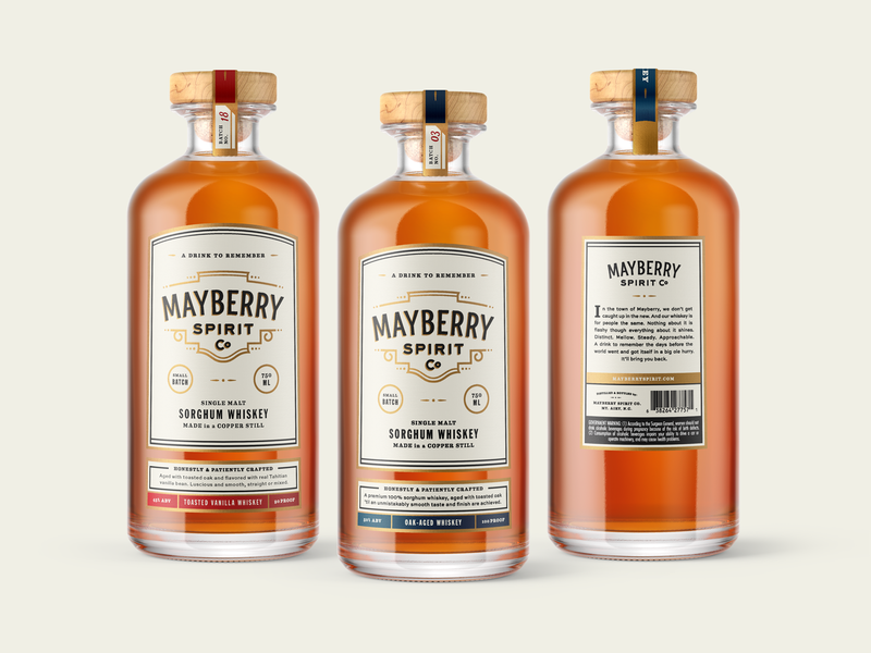 Mayberry Spirit Co. packaging label design whiskey spirits packaging packagedesign