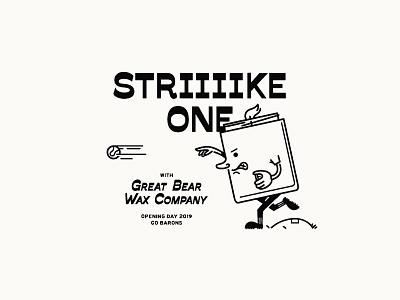 Striiiike One! alabama birmingham candle sports apparel typography type illustration baseball
