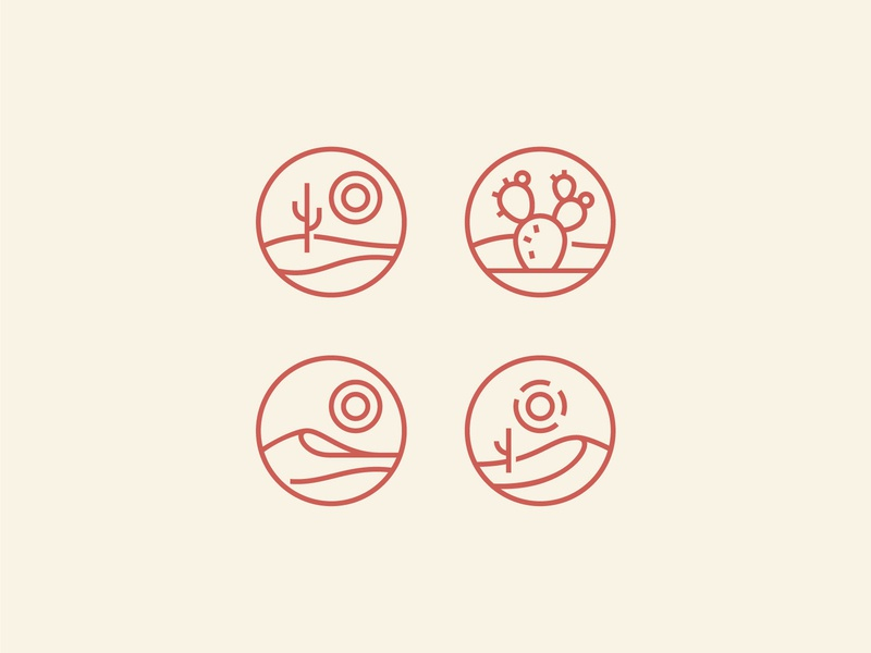 Desert Icons illustration travel grid circle monoline desert icon design