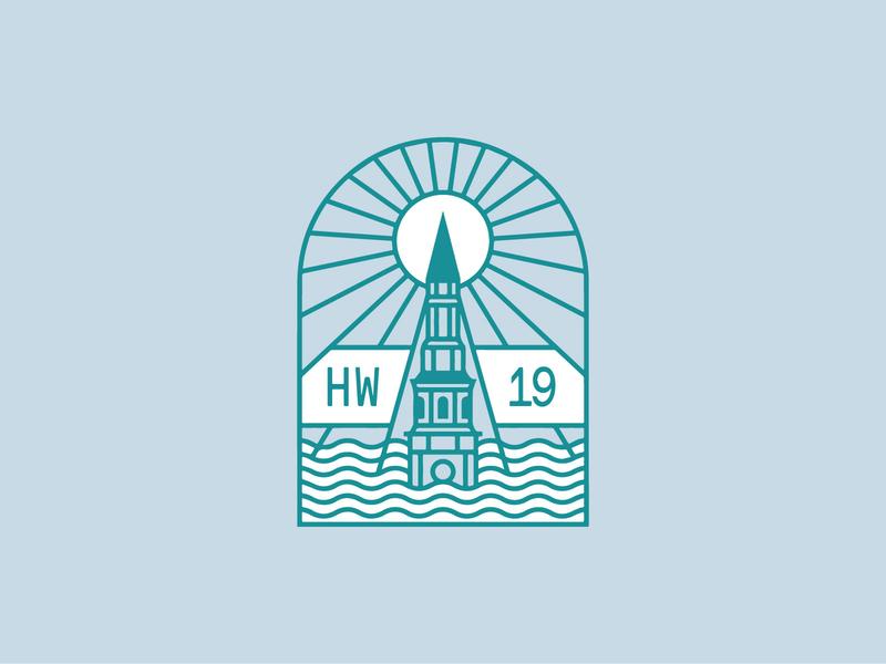 High Water Festival apparel tee sunset water church mono line badge logo badge