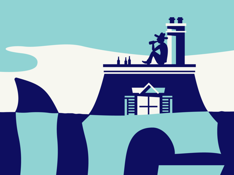 2019 High Water Festival Poster screenprint house beer cowboy sharks blue illustration festival music poster