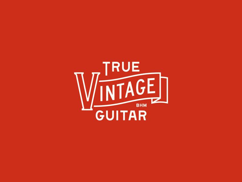 True Vintage Guitar typogaphy logo branding banner vintage logo music guitar vintage
