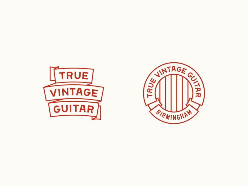 True Vintage Guitar Secondary Elements guitar music type badge vintage lettering typography alabama branding logo
