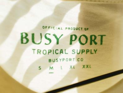 Busy Port details tiki beach green tropical tshirt apparel