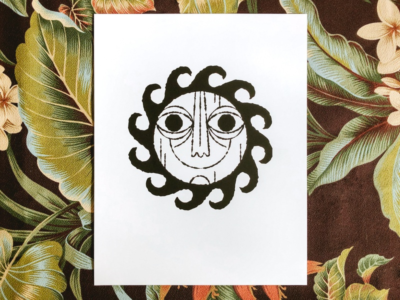 Paradise Art Print tiki tropical sun screenprint busy port