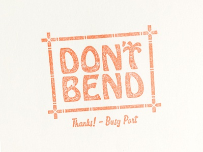 Don't Bend stamp tiki tropical palm tree bamboo