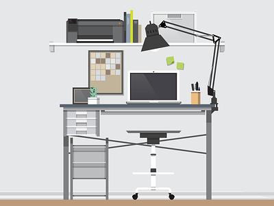 Desk on a good day desk vector