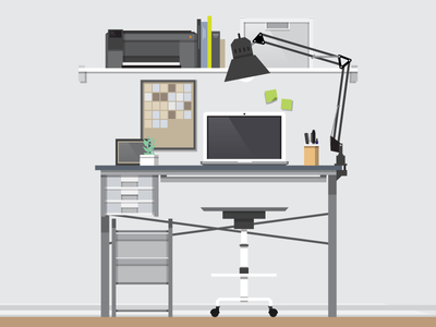 Desk on a good day desk vector
