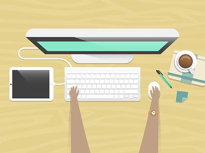 Work adobe vector illustration flat mac ipad coffee bananaforscale