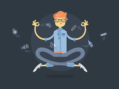 Creative guru vector illustration creative meditation adobe