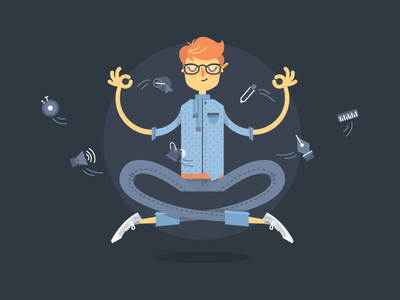 Creative guru vector illustration creative meditation adobe