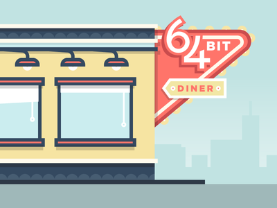64 Bit Diner illustration vector flat diner sign architecture building