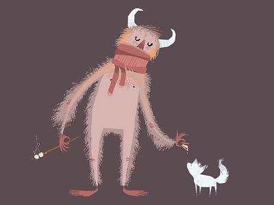 Sasquatch and friend illustration sasquatch smores bigfoot fox