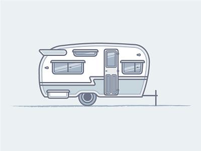 Camper camper camping trailer vector illustration