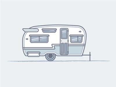 Camper camper camping trailer vector illustration