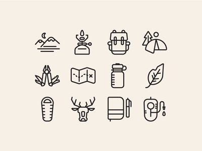 Backpacking nature illustration minimal line flat icons outdoors backpack camp camping backpacking